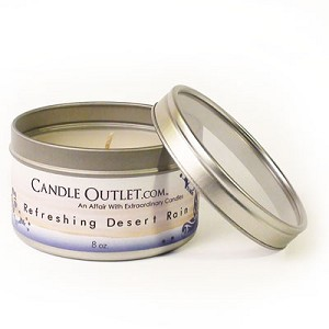 8oz. Round Candle Tin w/Clear Lid - Refreshing Desert Rain